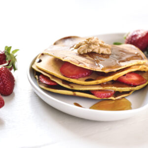 pancake/crepes dolce con fragole, puoi servirli con pic and go
