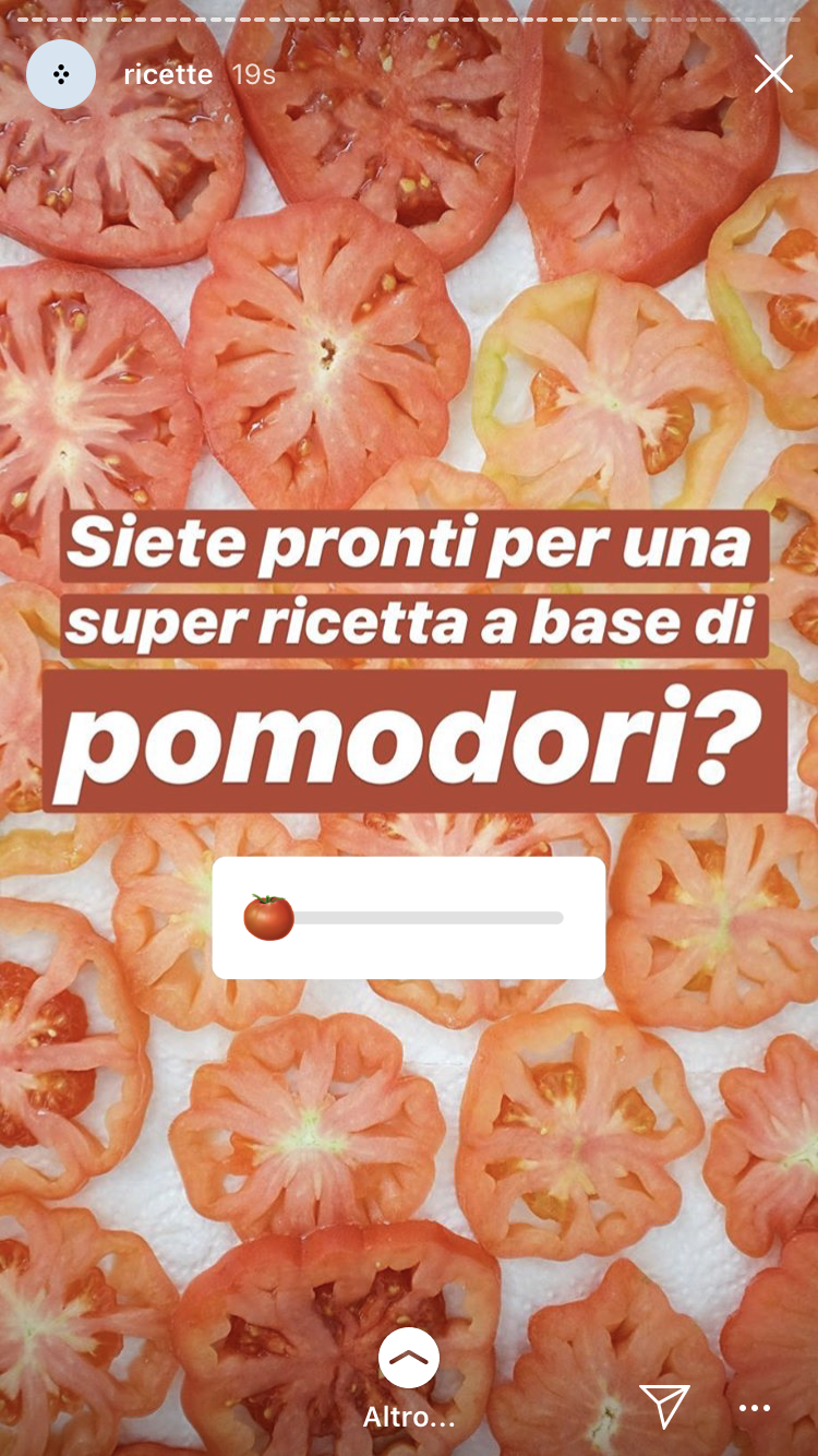 screenshot di una Instagram Story del blog di cucina Gnam Box